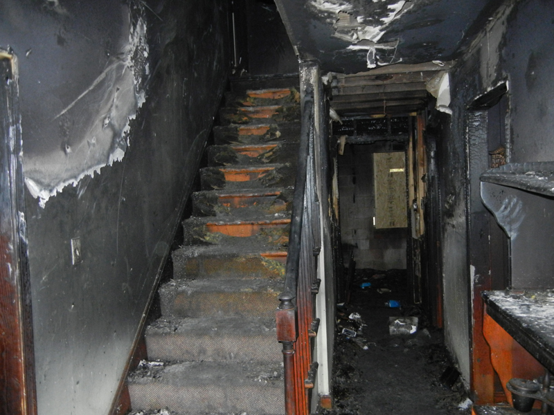 Incredible fire sdamage to hall and stairway